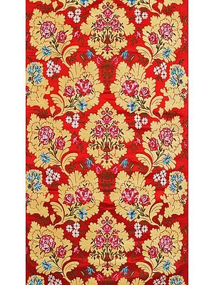 True-Red Fabric from Banaras with Woven Flowers and Zari Weave by Hand