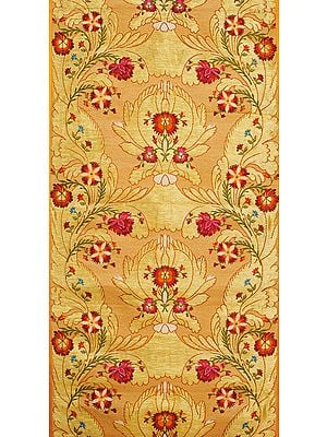 Peach and Golden Handloom Fabric from Banaras with Zari Weave