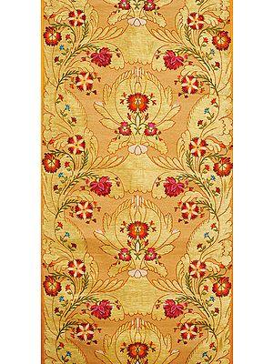 Peach and Golden Handloom Fabric from Banaras with Zari Weave