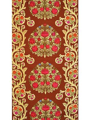 Rawhide-Brown Fabric with from Banaras with Hand-Woven Roses