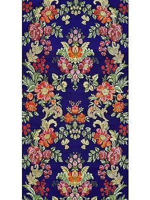 Mazarine-Blue Floral Handloom Fabric from Banaras
