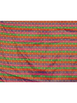 Multi-Color Fabric with Woven Flowers All-Over