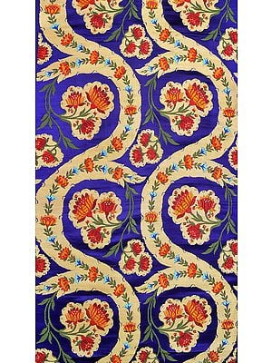 Deep-Ultramarine Brocade Fabric from Banaras with Hand-woven Lotuses and Zari Weave