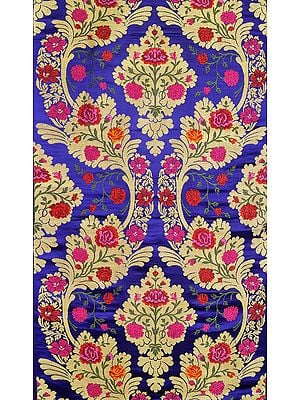Mazarine-Blue Tibetan Brocade Fabric from Banaras with Hand-woven Roses