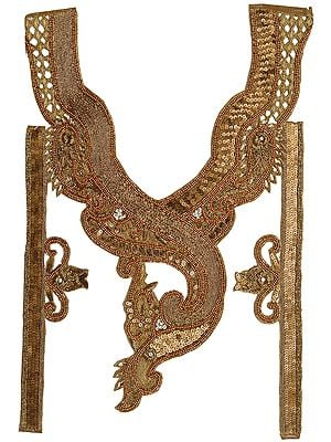 Designer Zardozi Golden Paisleys Neck and Sleeves Patch with Sequins