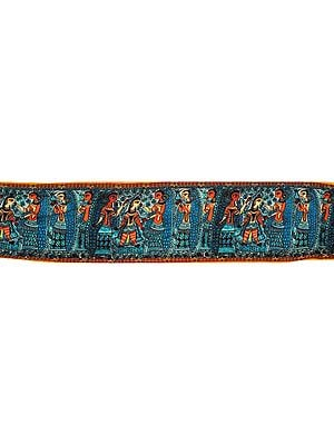 Algiers-Blue Fabric Border with Digital-Printed Madhubani Flolk Motifs