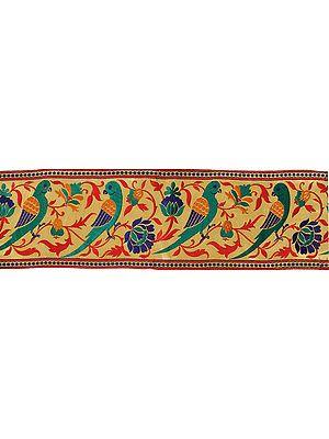 Golden Zari Wide Fabric Border from Banaras with Hand-woven Parrots