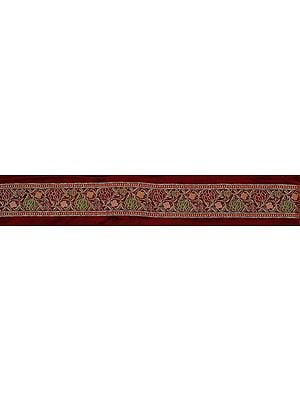 Burnt-Russet Fabric Border with Woven Lotuses