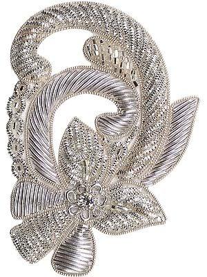 Silver Floral Zardozi Patch