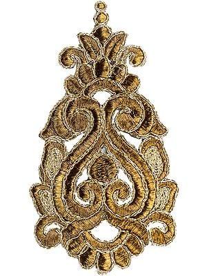 Metallic Zari Embroidered Floral Patch (Price per Pair)