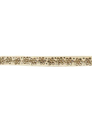 Crystal Floral Embroidered Narrow Lace