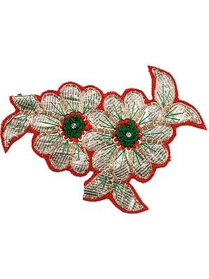 Golden and Red Twin Flowers Embroidered Patch with Thread-work
