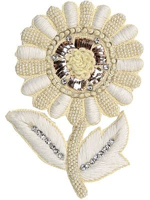 Ivory Sunflower Embroidered Patch with Pearls