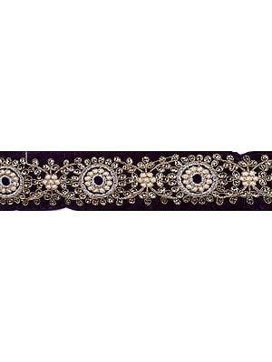Parachute-Purple Embroidered Fabric Border with Sequins