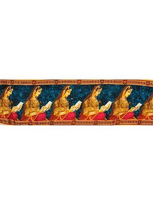 Mosaic-Blue  Fabric Border with Digital Printed Lady