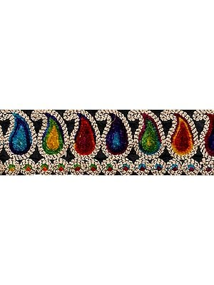 Multicolor Fabric Border with Embroidered Paisleys in Velvet Thread