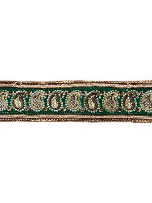 Alpine-Green Velvet Fabric Border with Zari-Embroidered Paisleys and Sequins