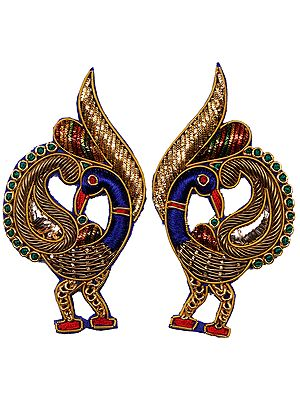 Golden Pair of Zardozi Peacock Patches