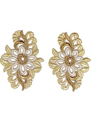 Pair of Zari-Embroidered Floral Patches with Cut-work