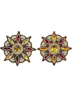 Ivory Pair of Beaded Flower Patches with Stones