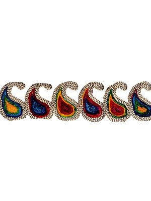Multicolor Embroidered Paisleys Fabric Border with Velvet Thread-work