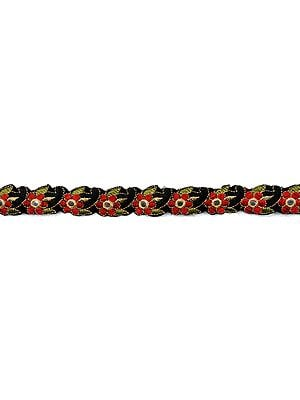 Black and Red Narrow Fabric Border with Embroidered Flowers and Mirrors