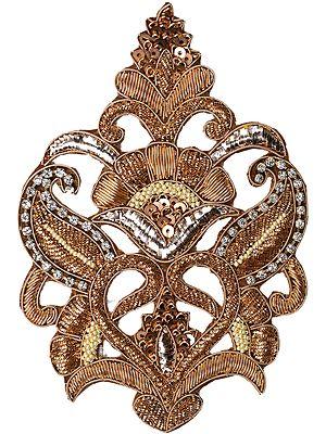 Metallic Designer Zardozi Paisleys Patch with Faux Pearls