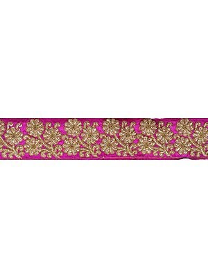 Vivid-Viola Fabric Border with Embroiderd Flowers in Golden Thread