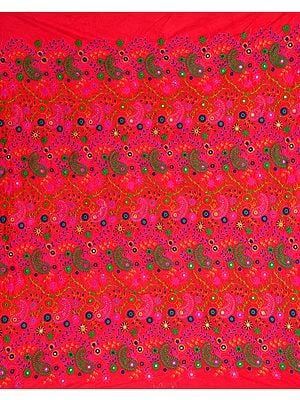 Embroidered Velvet Fabric with Paisleys and Mirrors