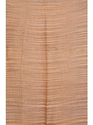 Sand-Brown Handspun Khadi Fabric with Thread Weave