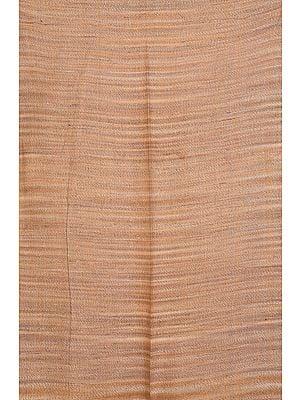 Sand-Brown Handspun Khadi Fabric with Thread Weave
