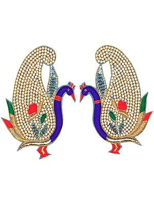 Golden and Blue Pair of Zardozi Peacock Patches with Embellished Crystals