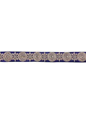 Zari-Embroidered Fabric Border with Crystals and Sequins