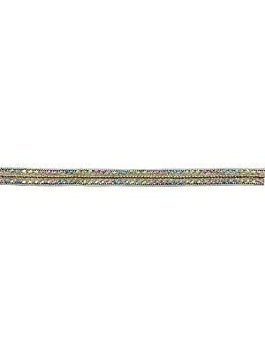 Zari-Embroidered Golden Lace Border with Multicolor Sequins and Beads