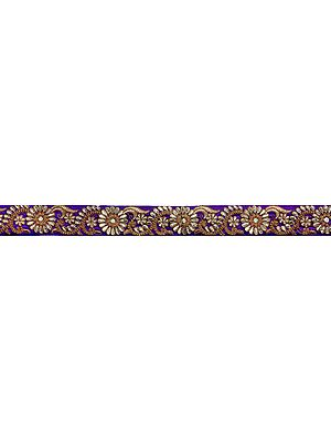 Fabric Border with Zari-Embroidered Flowers All-Over