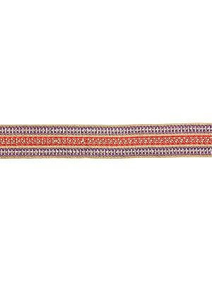 Zari-Embroidered Fabric Border with Crystals and Beads