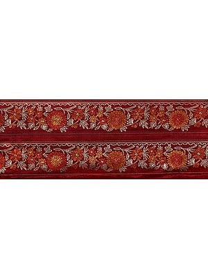 Deep-Claret Fabric with Zari-Woven Flowers