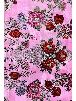 Handloom Brocade Fabric from Banaras with Woven Flowers