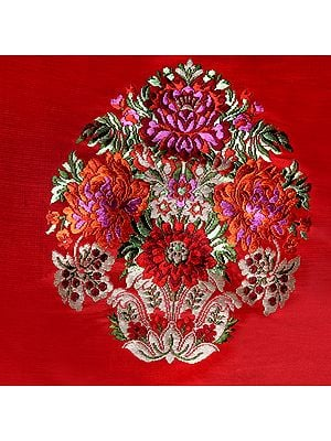Poppy-Red Brocade Patch from Banaras with Hand-Woven Flowers