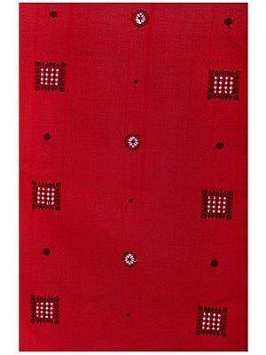 Jester-Red Handloom Fabric from Karnataka with Hand- Woven Bootis All-Over