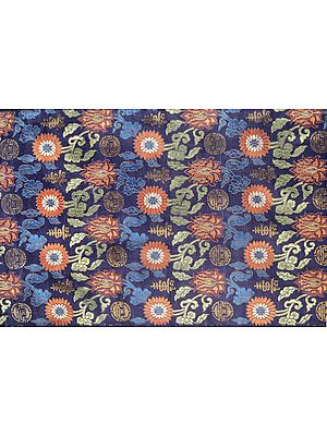 Blue-Depths Thangka Brocade from Banaras with Woven Flowers