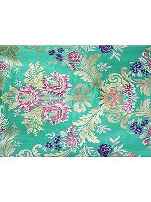Holly-Green and Golden Kim-khwab Banarasi Handloom Silk Fabric from the House of Kasim