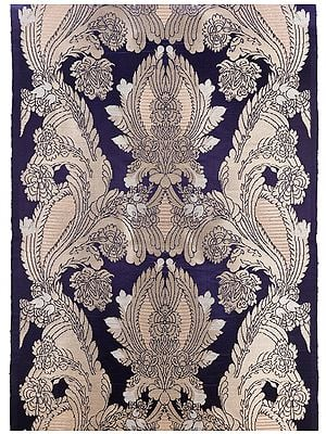 Mazarine Blue Handloom Fabric from Banaras with Arabesque Pattern