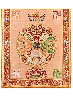 Symphonic Sunset Brocade Patch with Tibetan Vishwavajra Motifs