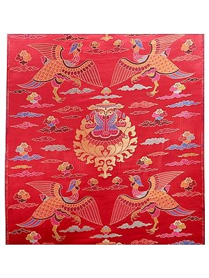Racing-Red Handloom Brocade Silk Fabric from Banaras with Auspicious Tibetan Motifs