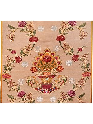 Peach-Fuzz Handloom Silk Fabric from Banaras with Tibetan Floral Motifs