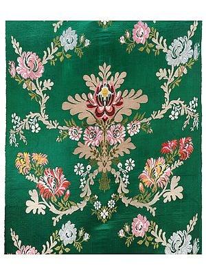 Tibetan-Rhubarb Handllom Floral Brocade Fabric from the House of Kasim