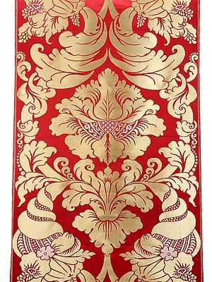 Red and Gold Damask Polysilk Brocade Fabric with Giant Tibetan Motifs