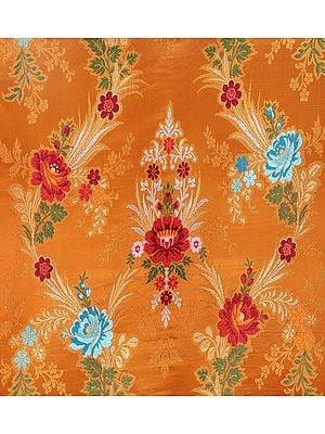 Golden Oak Burgundy Tibetan Lotus Handloom Brocade from the House of Kasim