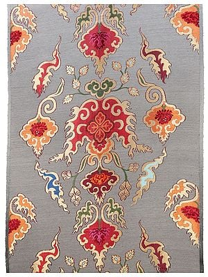 Drizzle Grey Hand-woven Brocade Fabric from Banaras with Turkish Motifs